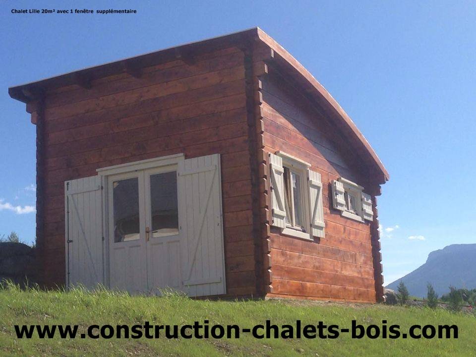 chalet de loisirs lille 20m en bois en kit sans permis. Black Bedroom Furniture Sets. Home Design Ideas