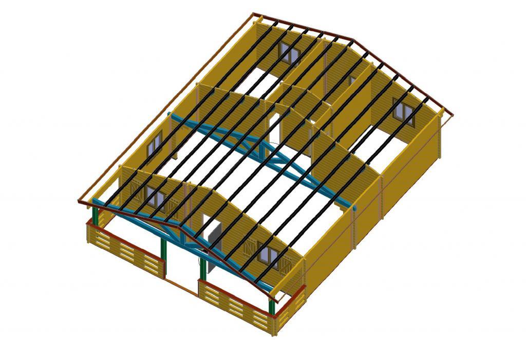 de loisirs 68m2 chalets habitables en bois en kit. Black Bedroom Furniture Sets. Home Design Ideas