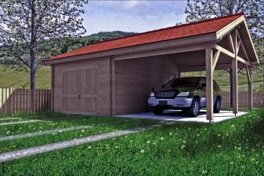 Photo Garage en bois  simple Yvelines avec son carport 45 m²