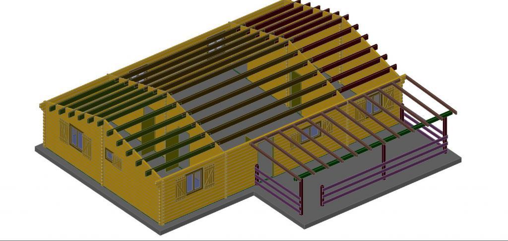 maison bois style loft de 104m en bois en kit. Black Bedroom Furniture Sets. Home Design Ideas