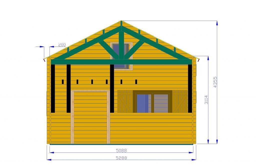 chalet habitable digne 60 m2 en bois en kit avec mezzanine. Black Bedroom Furniture Sets. Home Design Ideas