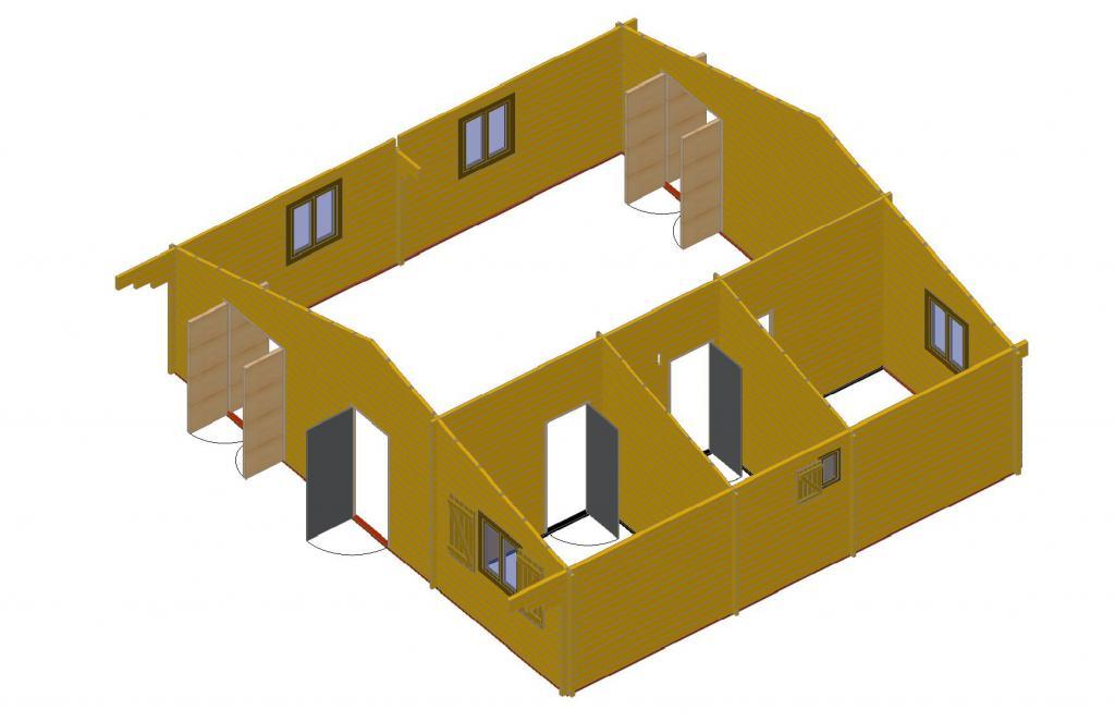 bois de 72m2 chalets habitables en bois en kit sans mezzanine. Black Bedroom Furniture Sets. Home Design Ideas