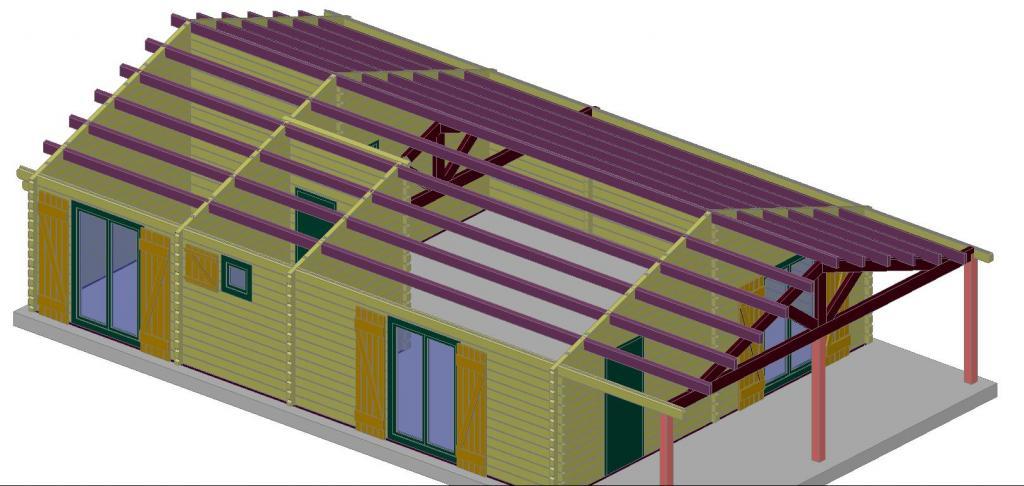 chalet habitable de 73 m avec une terrasse couverte de 14 m en bois en kit. Black Bedroom Furniture Sets. Home Design Ideas