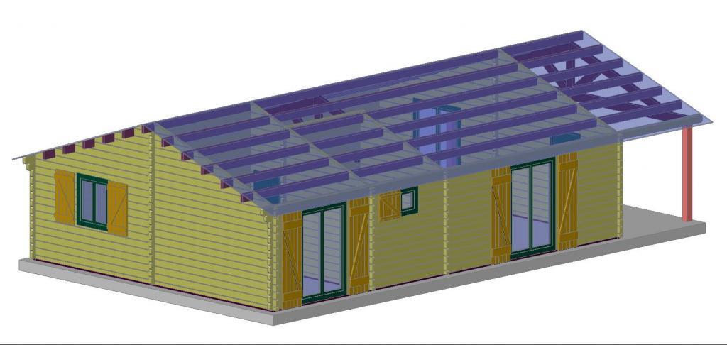 Maison bois de 73 m² avec une terrasse couverte de 14 m² en bois en