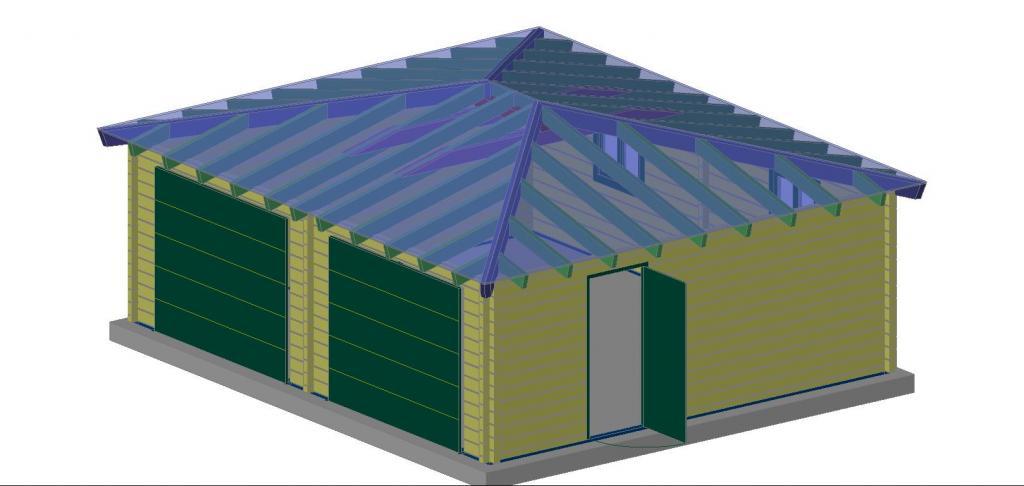 Double garage bois toit plat for Garage bois kit