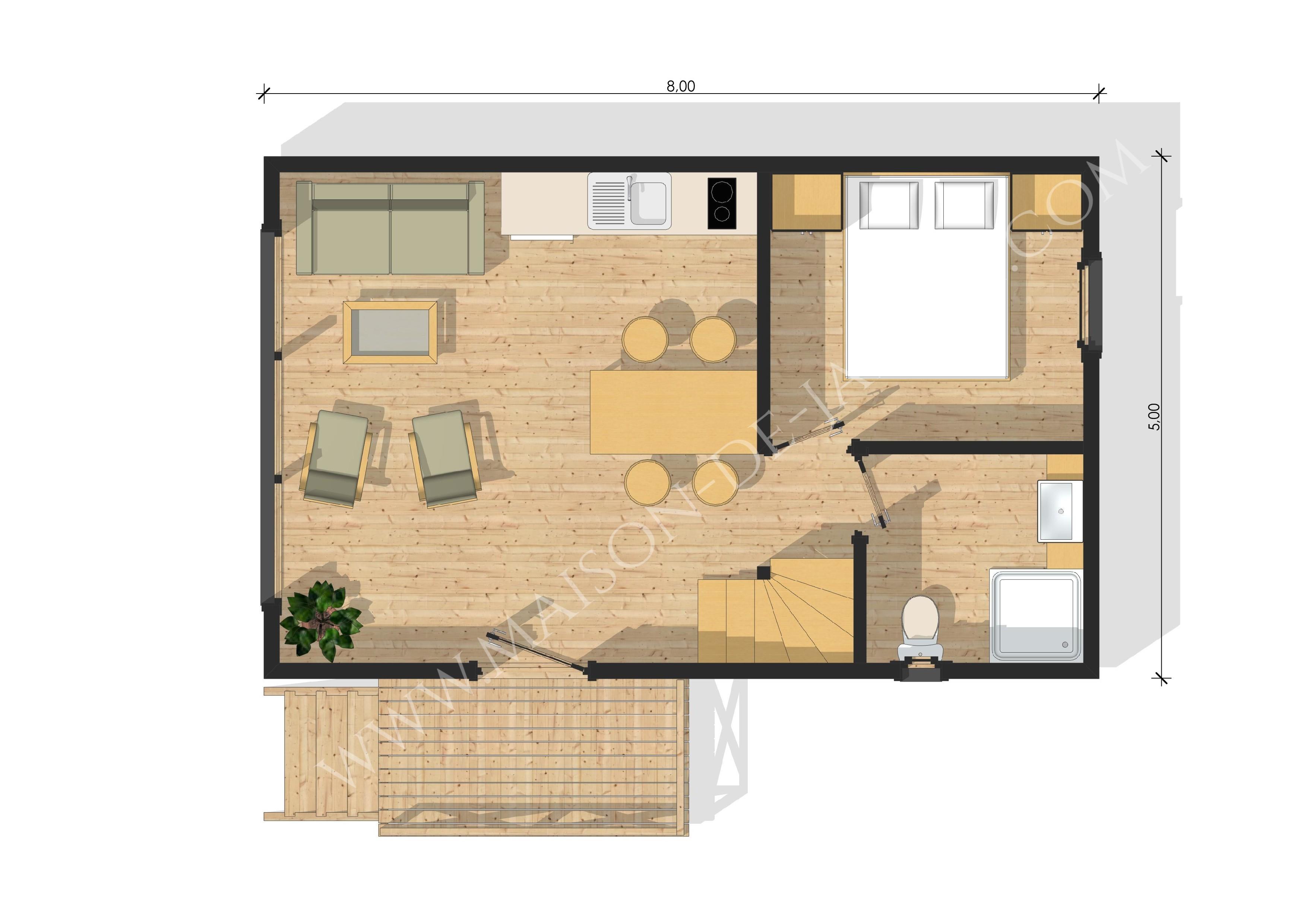 Maison de jardin atlantique en bois for Plan maison jardin