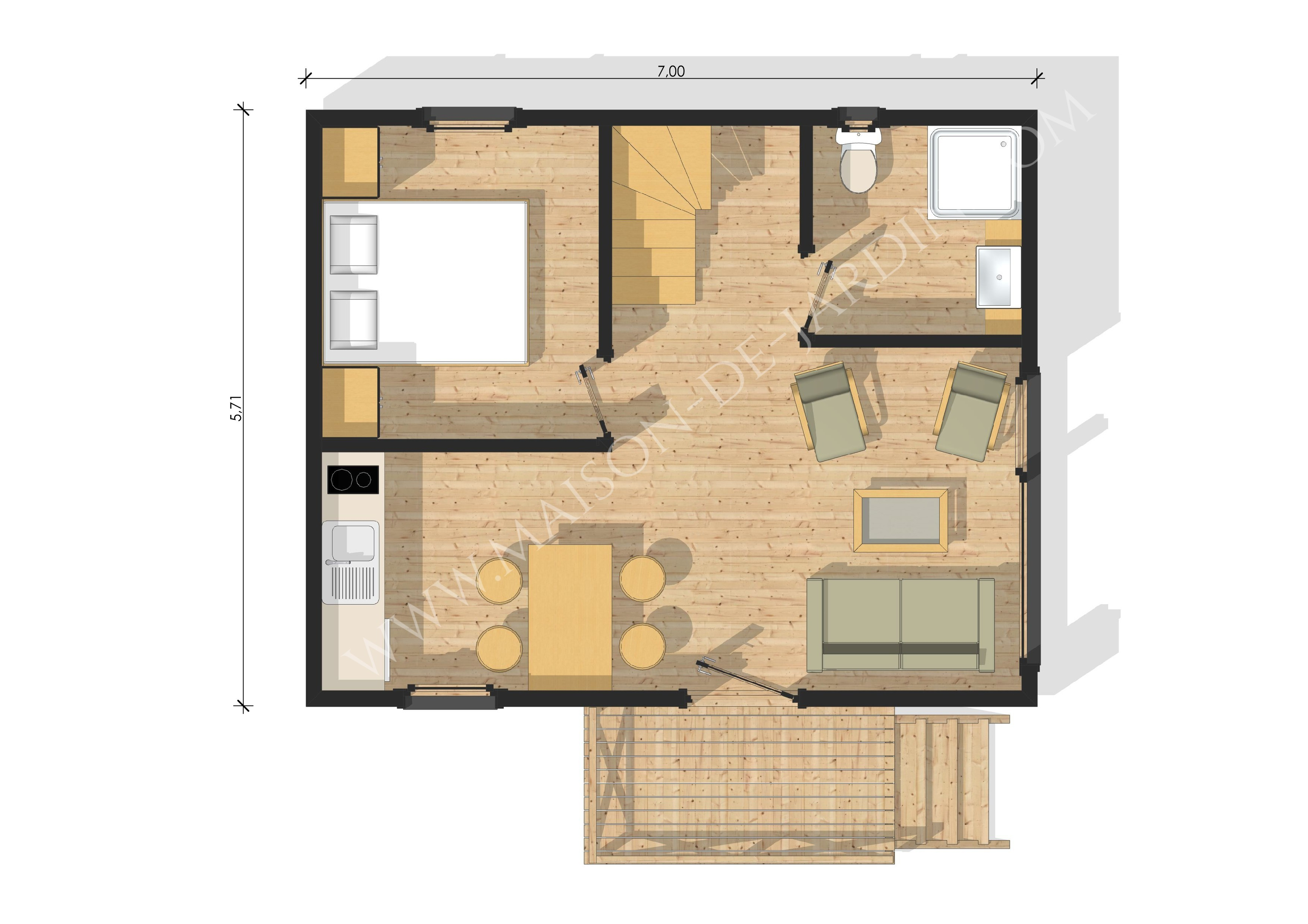 Maison de jardin m diterran e en bois en kit - Plan de studio avec mezzanine ...