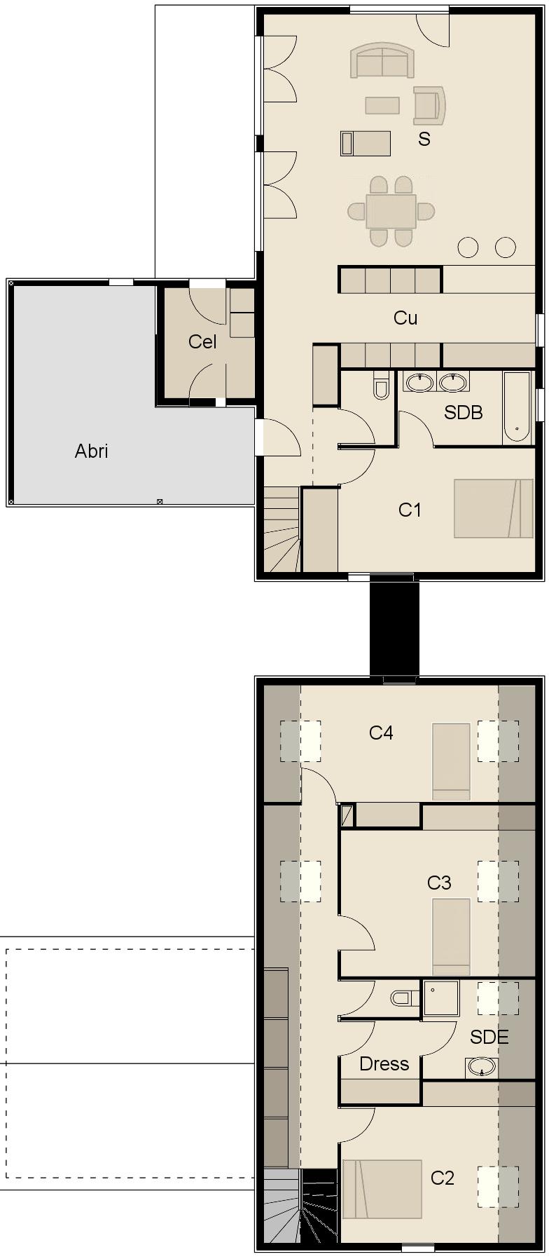 Maison Bois 4 Chambre : Plan façade maison ossature bois avec chambres