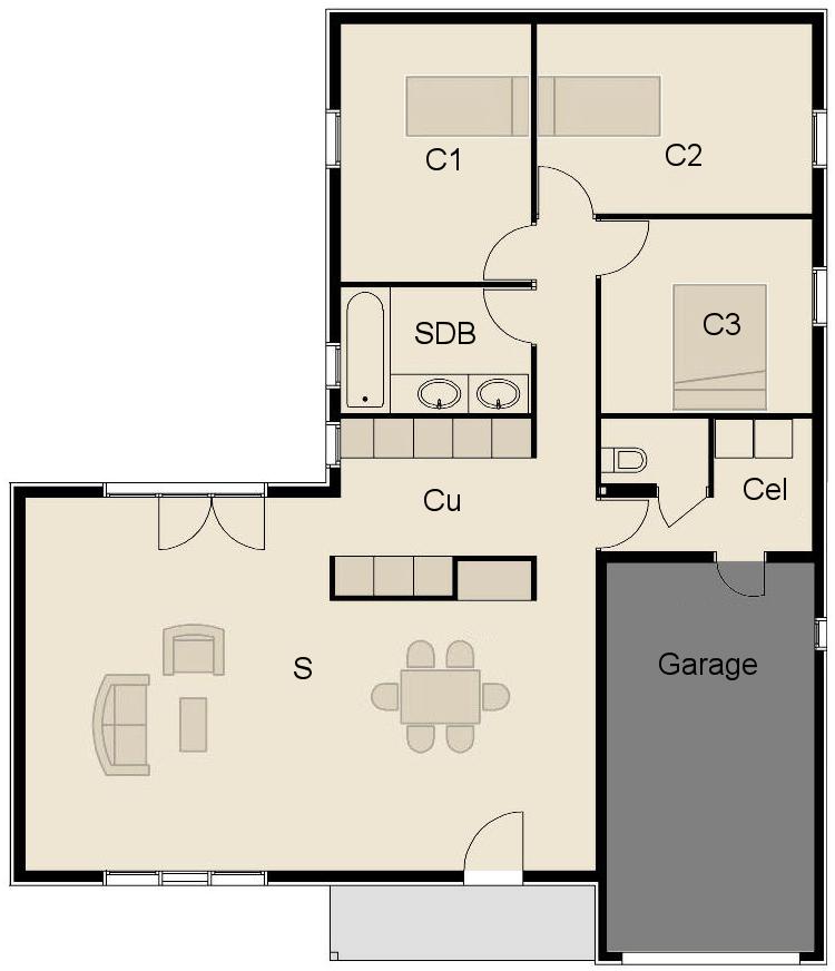 Plan fa ade maison ossature bois maison bois de plain pied for Plan maison ossature bois