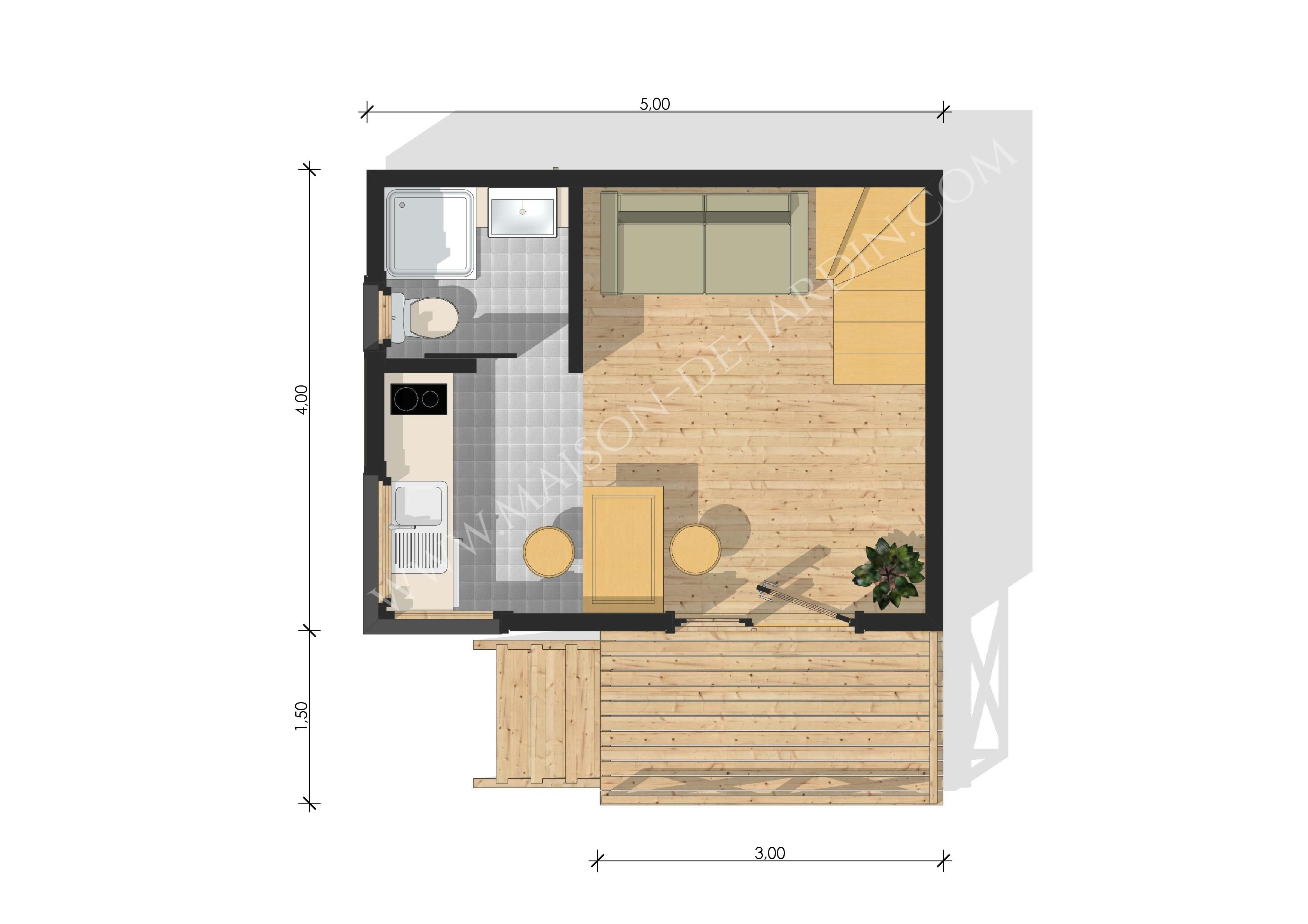 Studio de jardin avec ossature bois nanterre 37 m 29900 for Studio de jardin habitable
