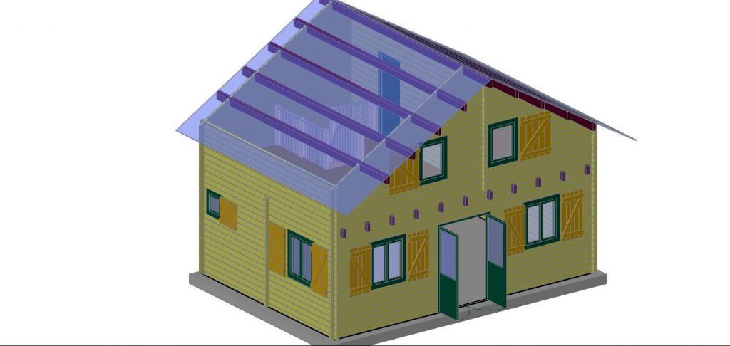 Chalet habitable de 35m en bois en kit avec mezzanine for Chalet en bois avec mezzanine