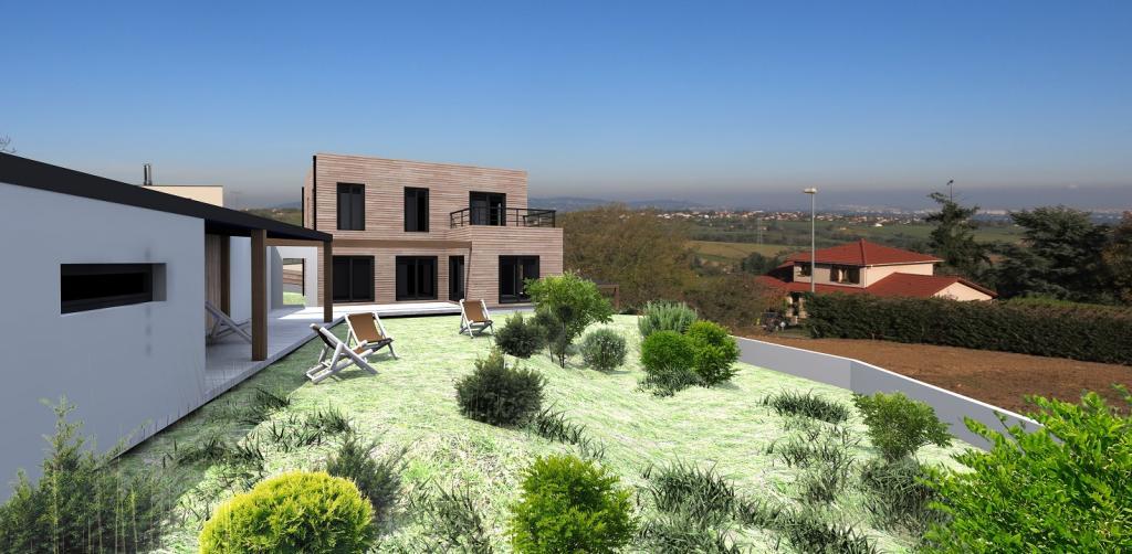 Maison ossature bois for Constructeur maison contemporaine 69