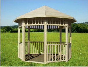 pergola octogonal 3m x 3m en bois en kit sans permis de construire. Black Bedroom Furniture Sets. Home Design Ideas