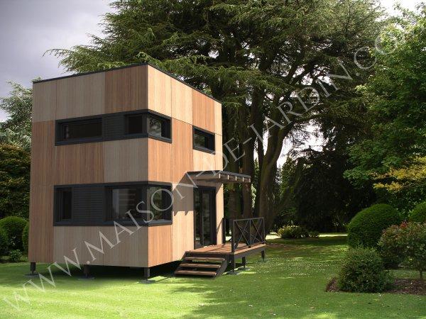 Studios de jardin mezzanine cube avec ossature bois cl en main - Chalet de jardin avec mezzanine ...