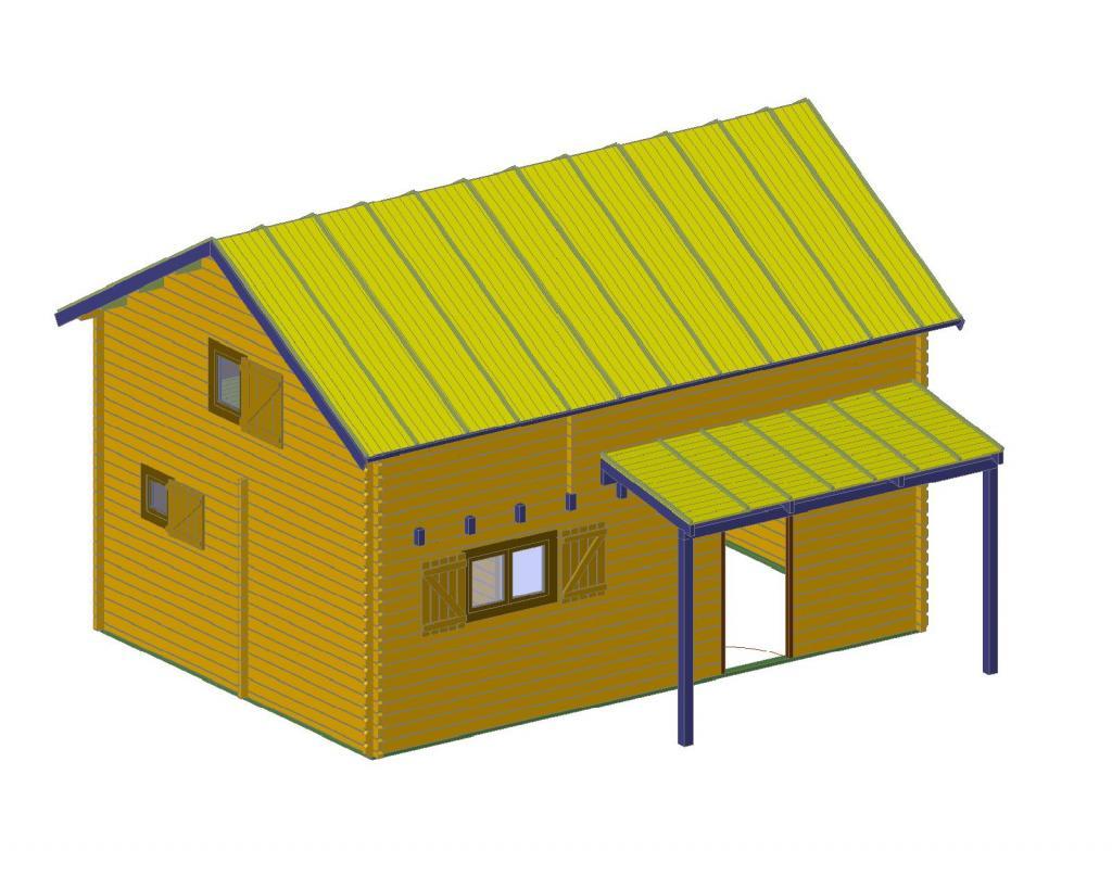 chalet habitable de 35 m avec tage en bois en kit avec mezzanine. Black Bedroom Furniture Sets. Home Design Ideas