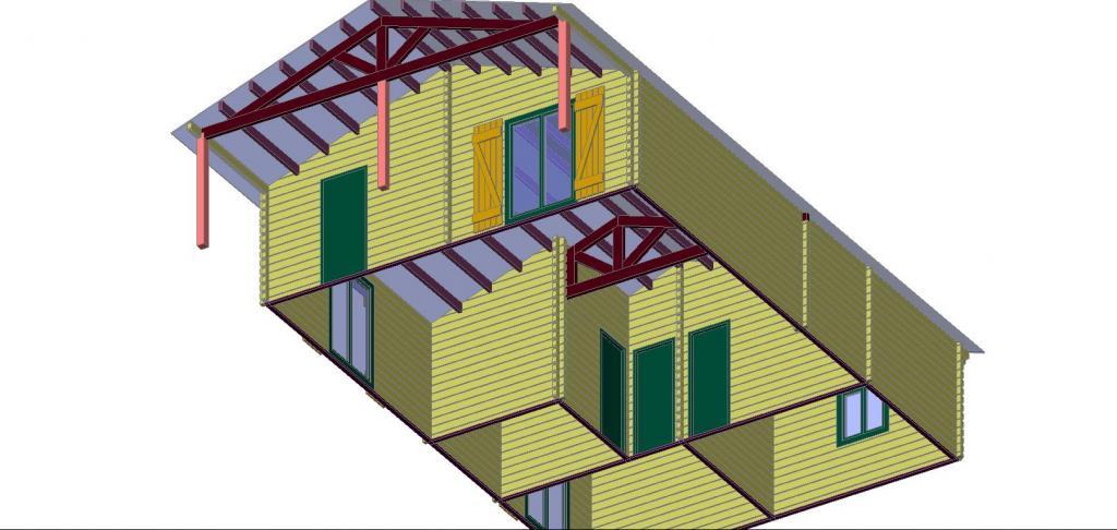 Maison Bois De 73 M Avec Une Terrasse Couverte De 14 M En Bois En Kit