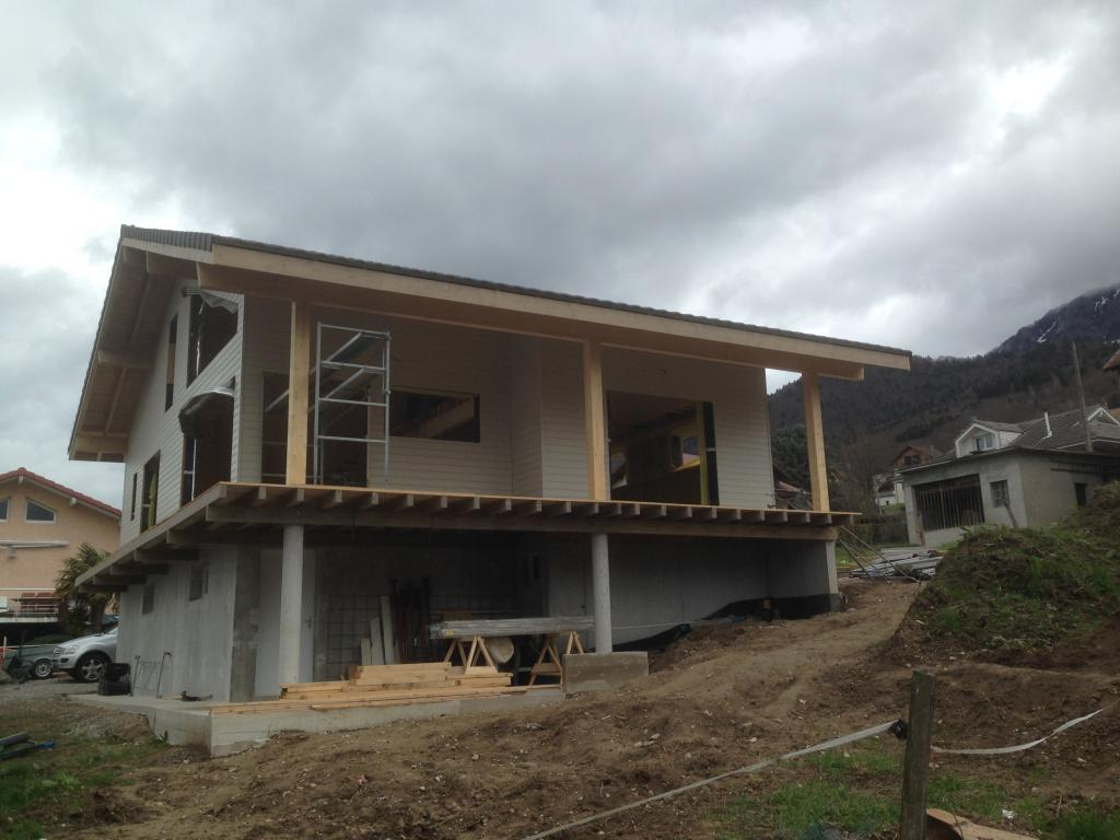 Photo suppl mentaire maison ossature bois rh ne alpes for Construction bois maison