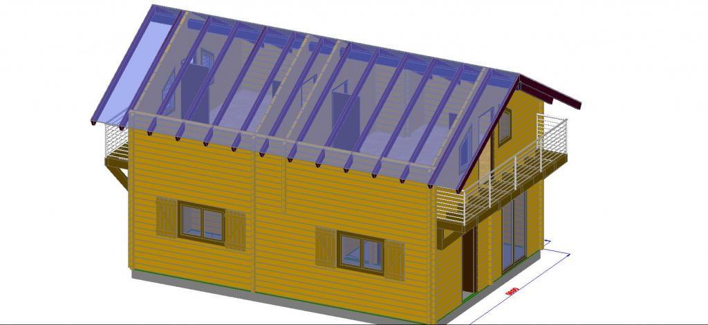 Maison de jardin avec ossature bois en kit 96 m 96 m for Prix maison en bois en kit cle en main
