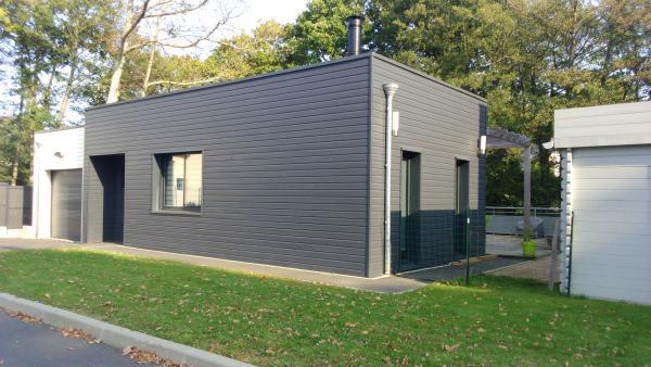 Photo Construction maison bois contemporaine sur vide sa