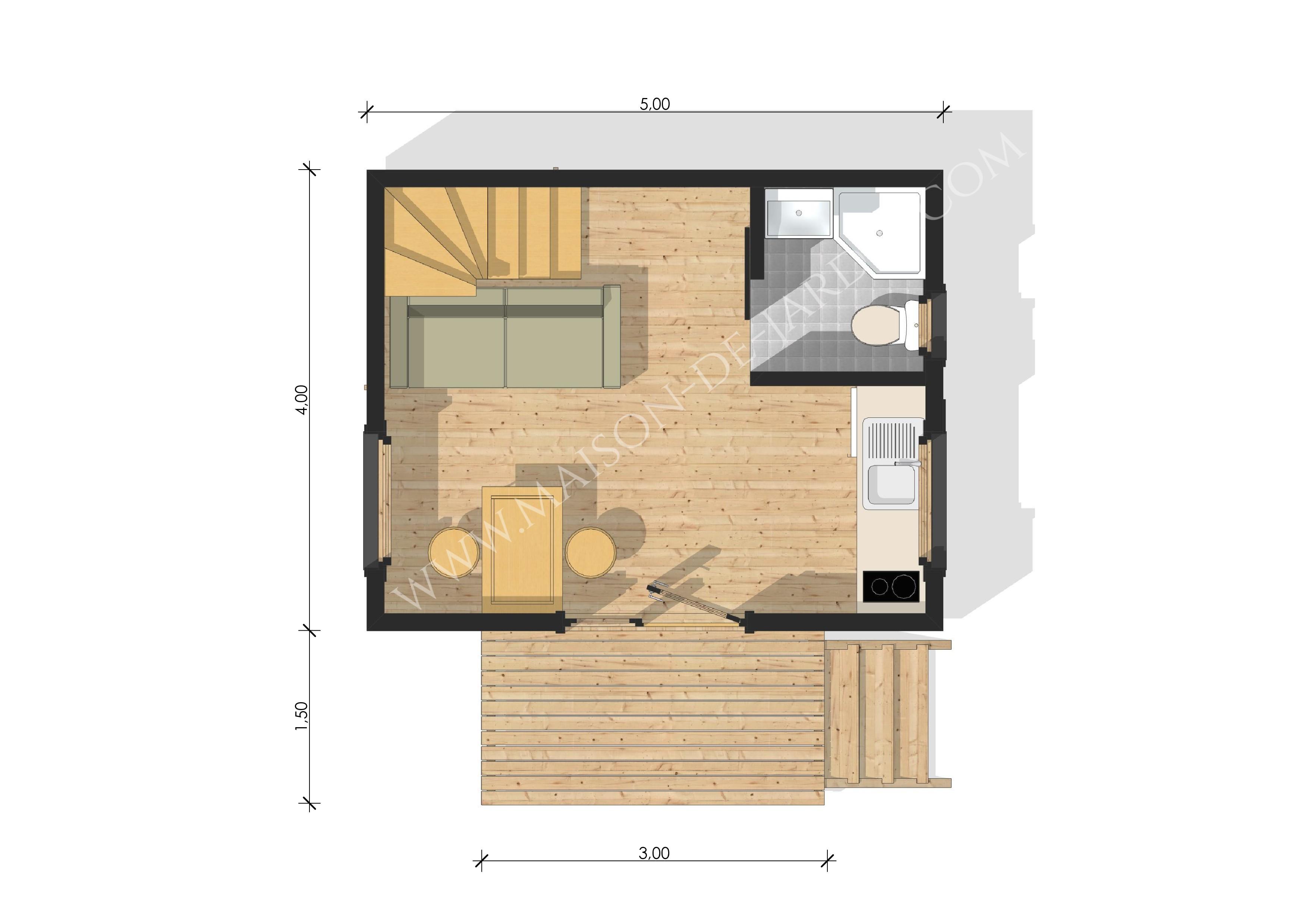 Maison Ossature Bois Bordeaux studio de jardin avec ossature bois bordeaux 37 m² : 36900