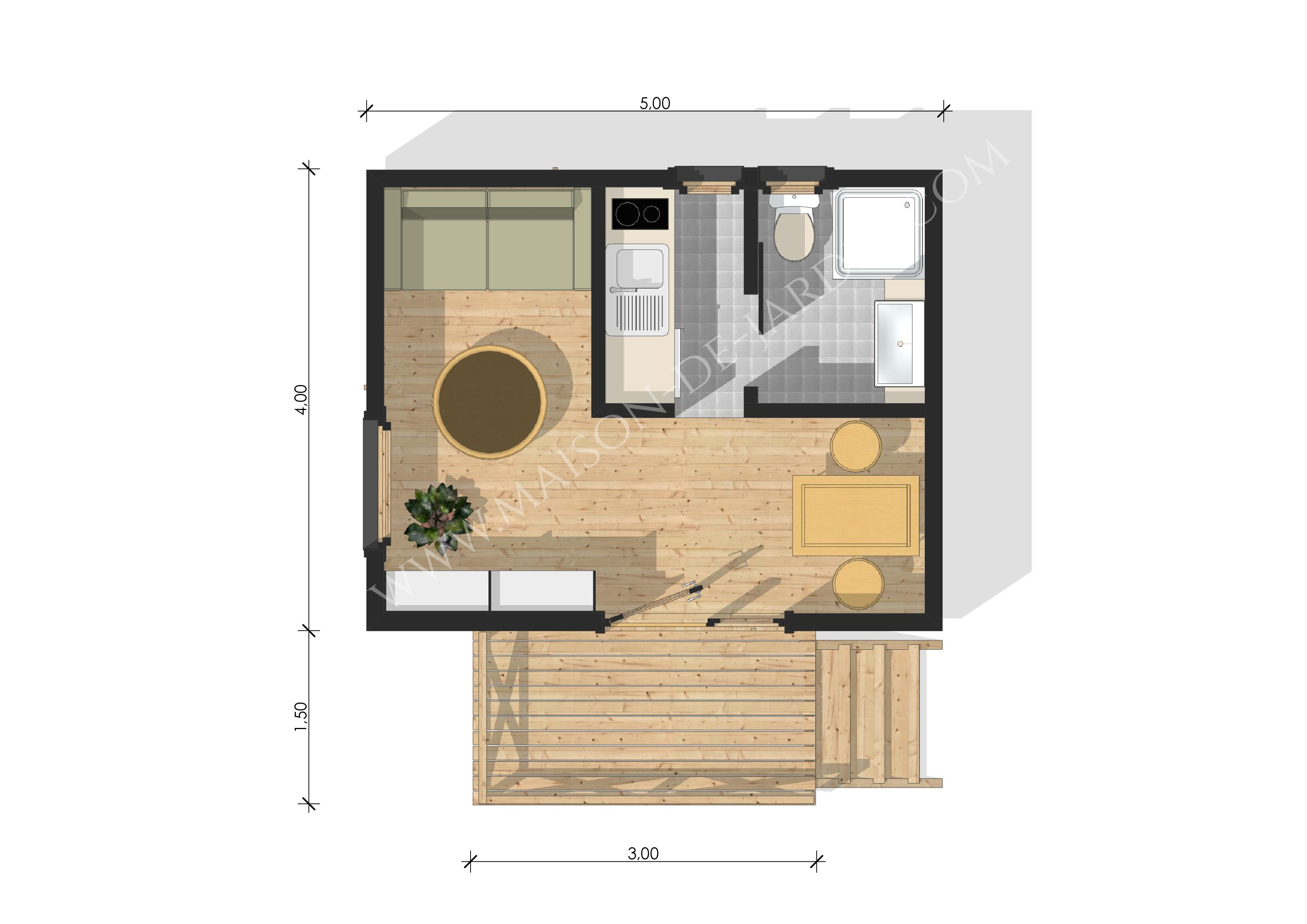 Studio de jardin avec ossature bois lyon 20 m 23490 ttc livr mont cl en main - Plan studio studio m ...