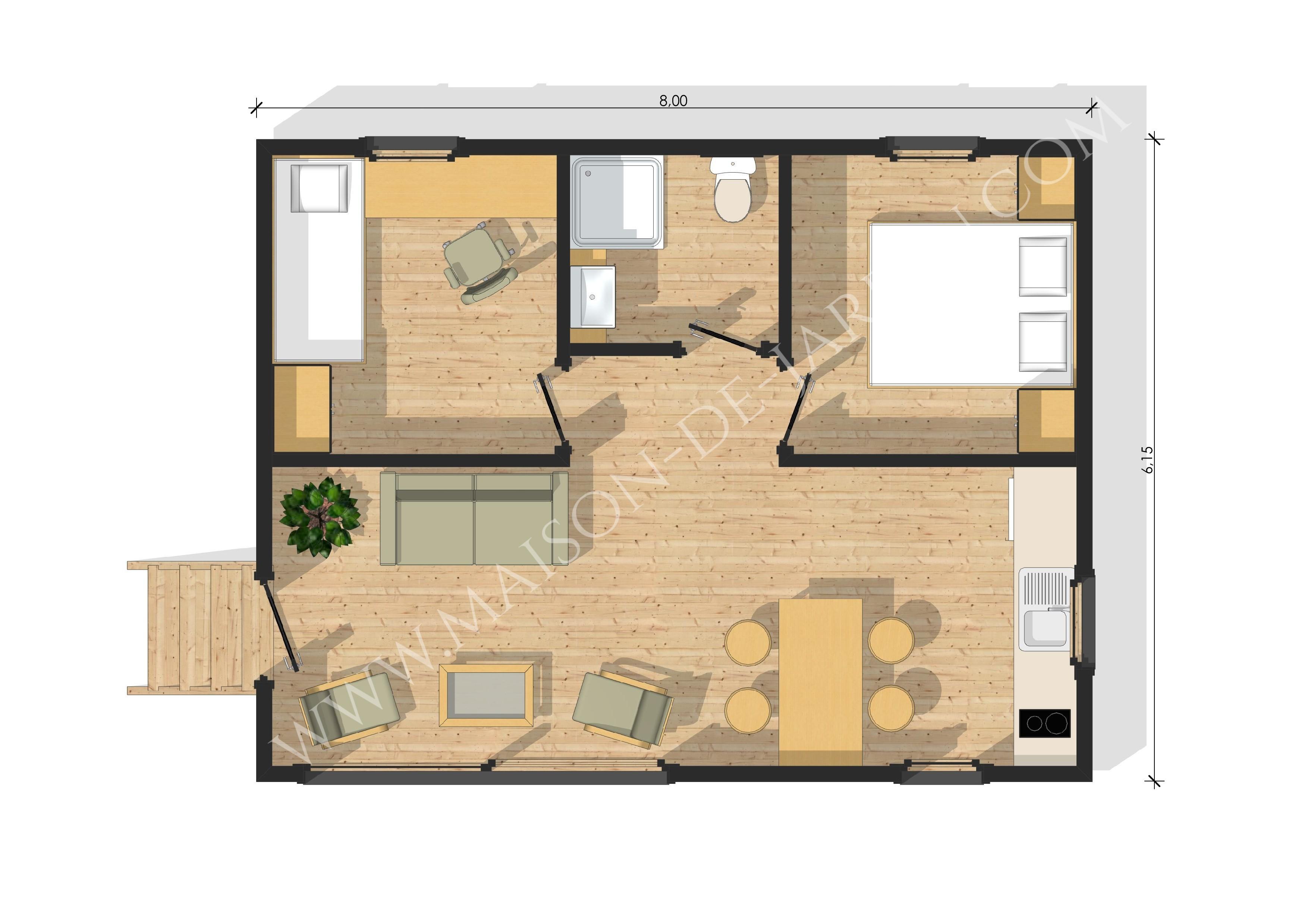 Cette maison avec sa toiture 2 pans dispose dune porte fenêtre et fenêtres en pvc double vitrage de couleur gris anthracite cette petite maison peut vous