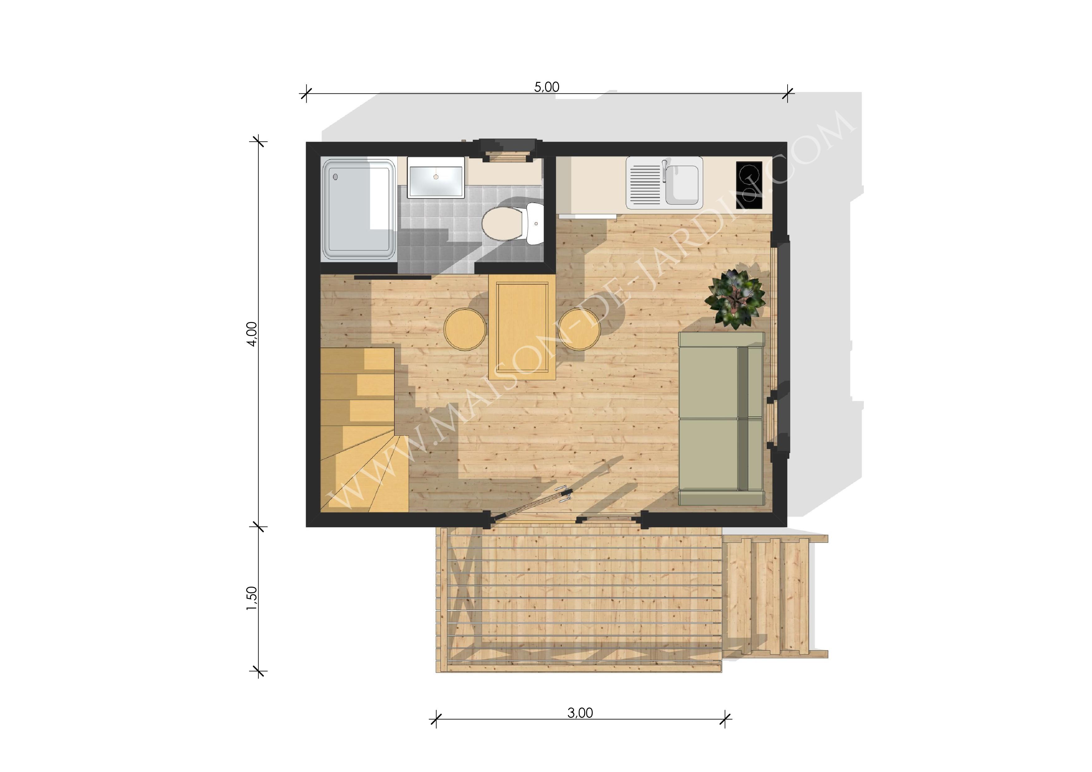 Maison de jardin bordeaux en bois en kit - Plan d un studio moderne ...