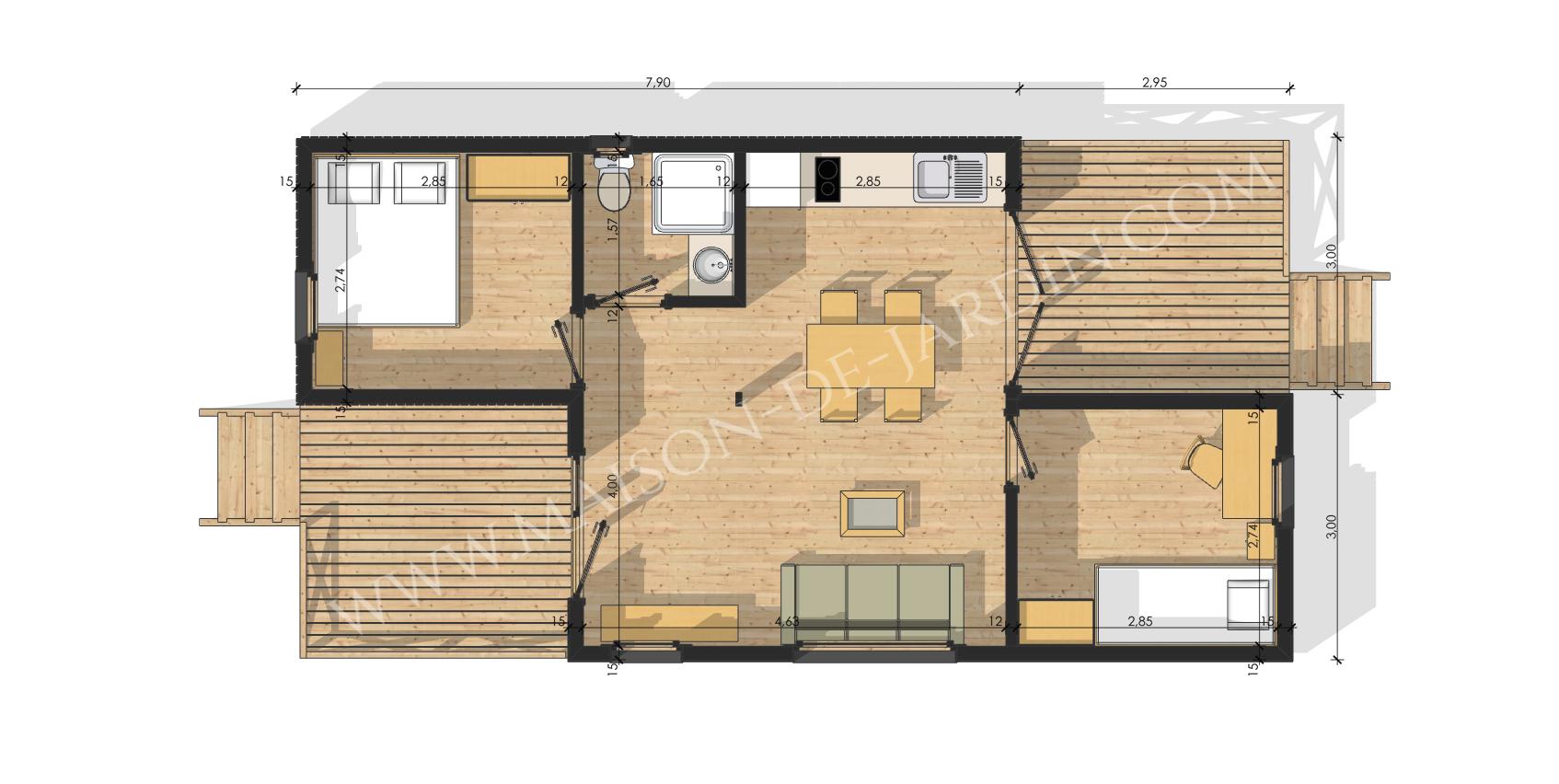 maison de jardin avec ossature bois essonne 47 m 51590 ttc livr mont cl en main. Black Bedroom Furniture Sets. Home Design Ideas