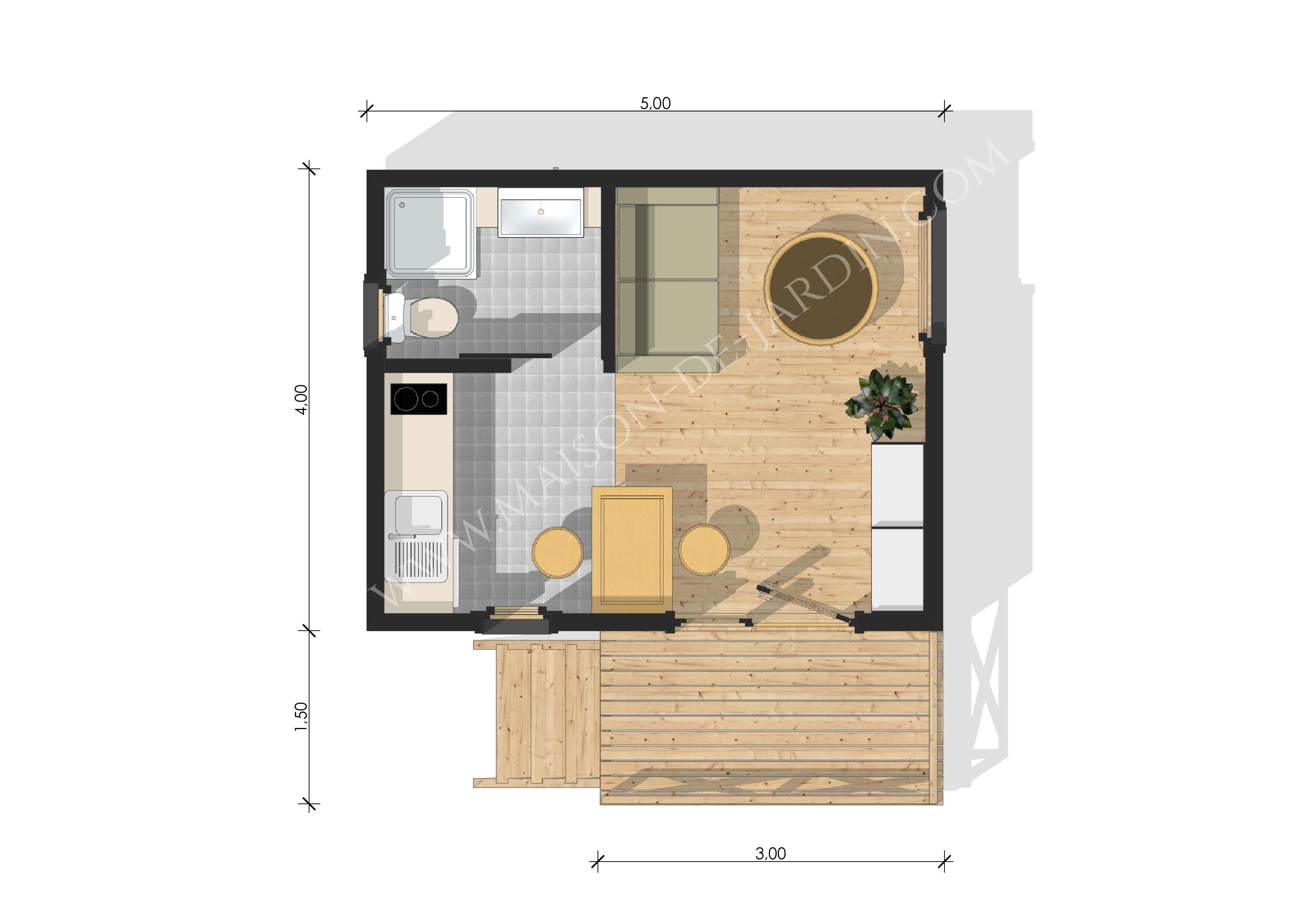 studio de jardin avec ossature bois lyon 20 m 25700 ttc livr mont cl en main. Black Bedroom Furniture Sets. Home Design Ideas