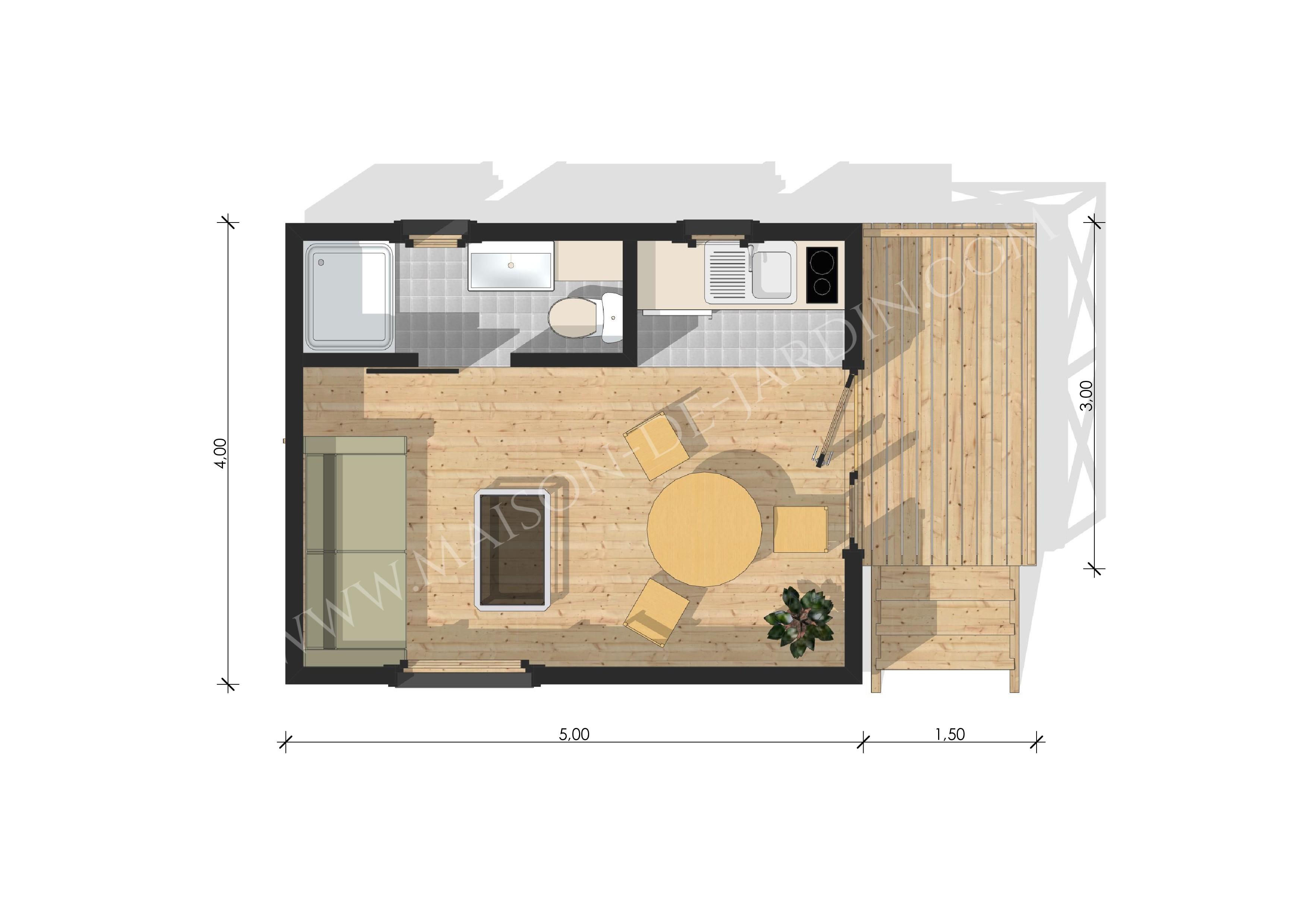 Studio de jardin avec ossature bois yvelines 20 m 24045 for Restaurant yvelines avec jardin