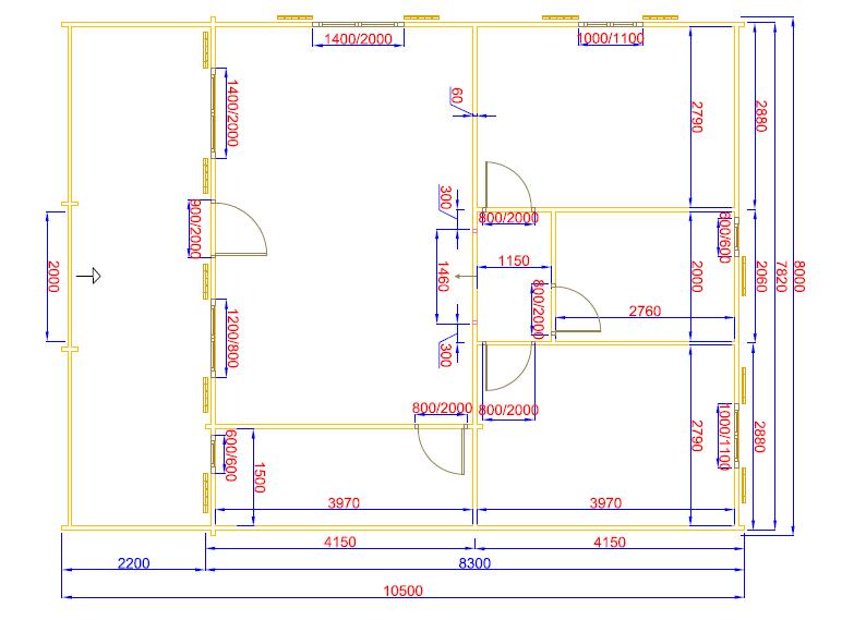 plan  de 67 m² +une terrasse couverte d