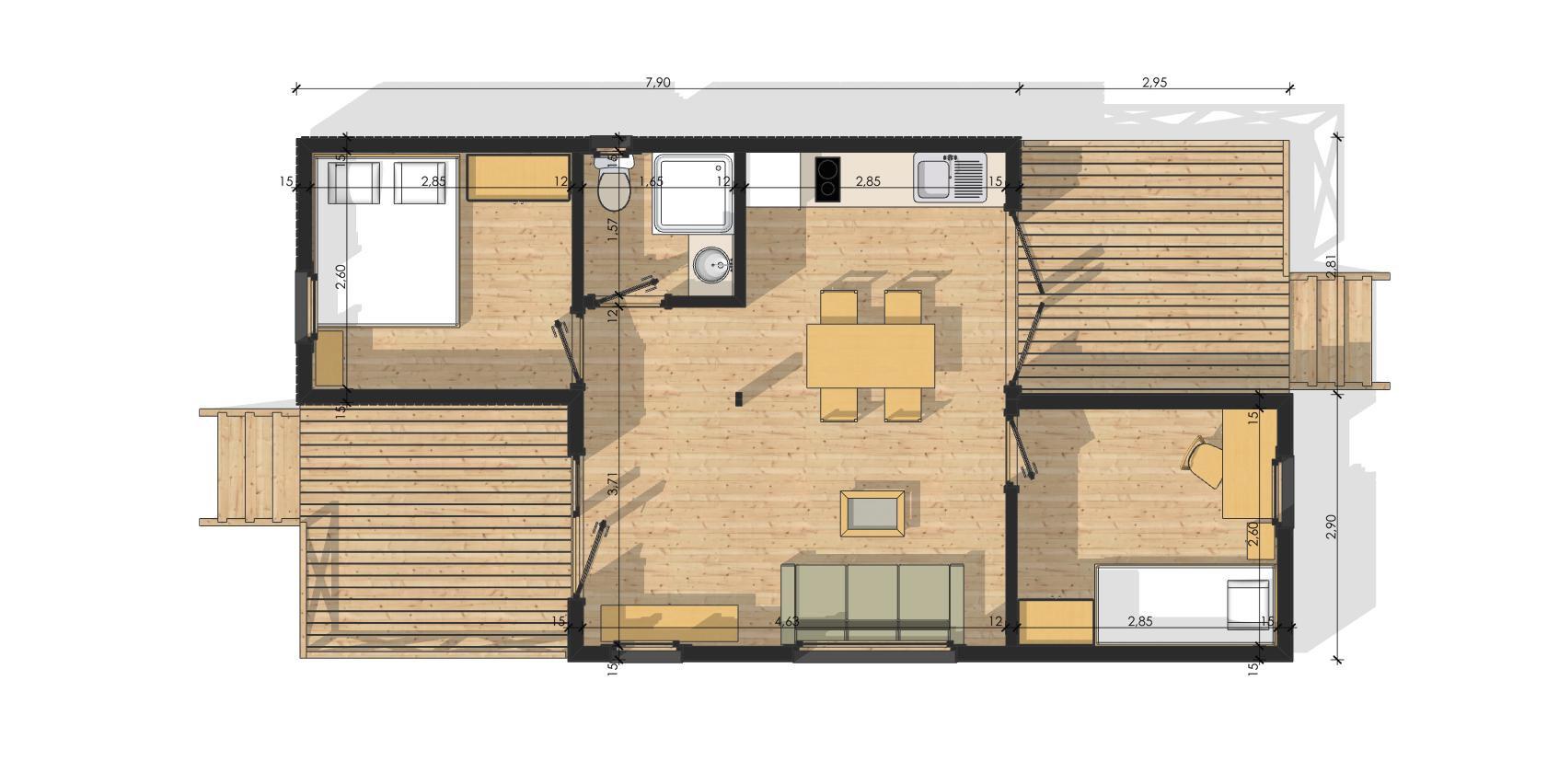 Plan maison 60m2 plain pied plan maison du0027un for Prix construction garage 60m2