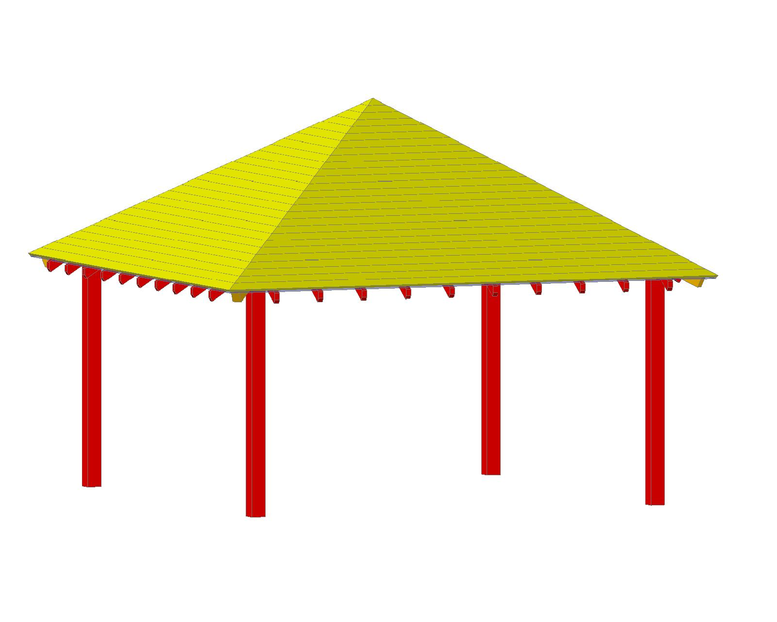 Plan façade Pergola Rectangle 4M X 6M